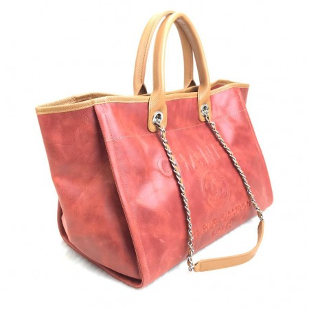 CHANEL GLAZED DEAUVİLLE TOTE BAG ESKİTME BORDO