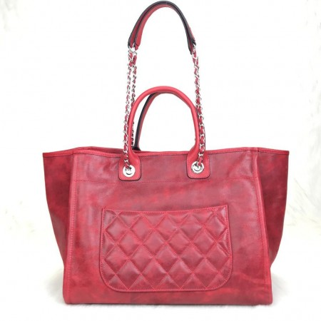 CHANEL GLAZED DEAUVİLLE TOTE BAG KIRMIZI