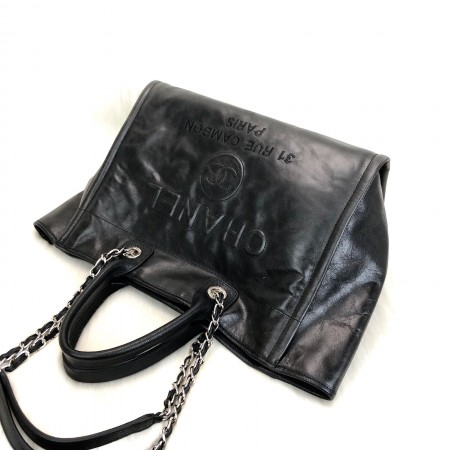 CHANEL GLAZED DEAUVİLLE TOTE BAG SİYAH